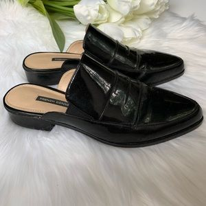 French Connection | Black Paten Leather Mules